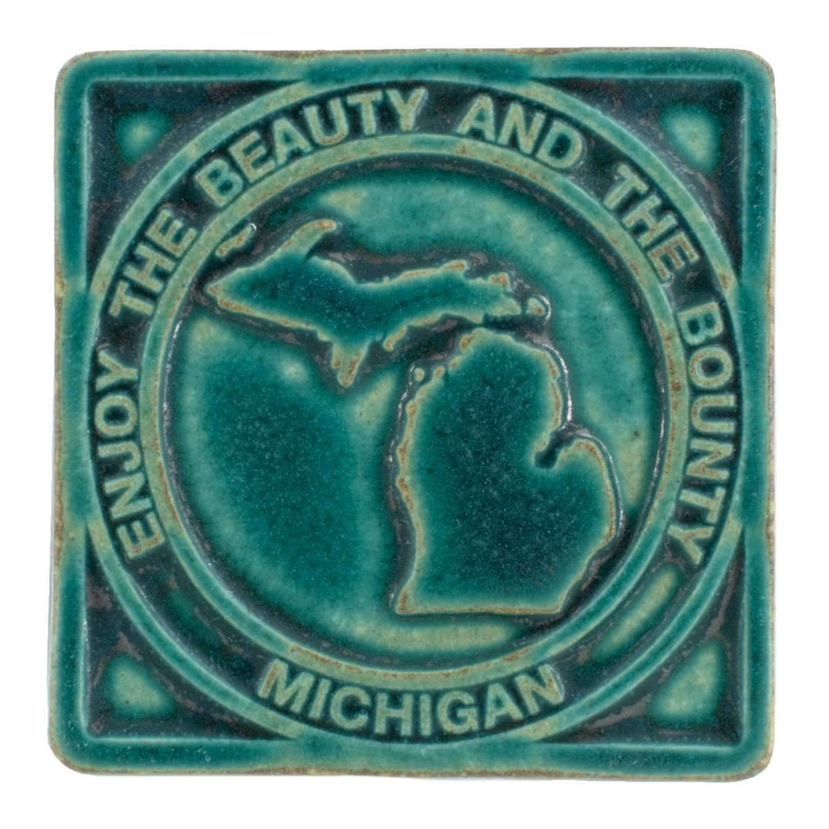 4x4 Beauty & Bounty Michigan Pewabic Tile - Pewabic Blue