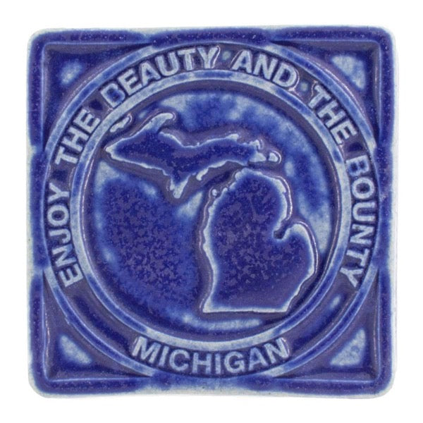 4x4 Beauty & Bounty Michigan Pewabic Tile - Cobalt
