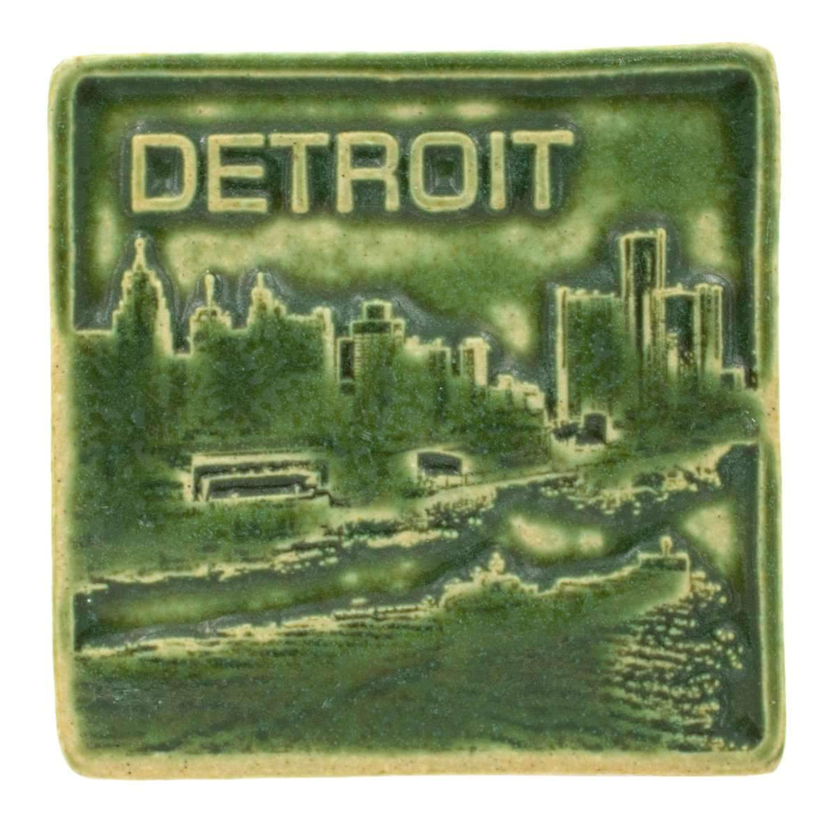4x4 Detroit Skyline Pewabic Tile - Leaf