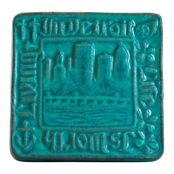 4x4 Old Detroit Pewabic Tile - Pewabic Blue