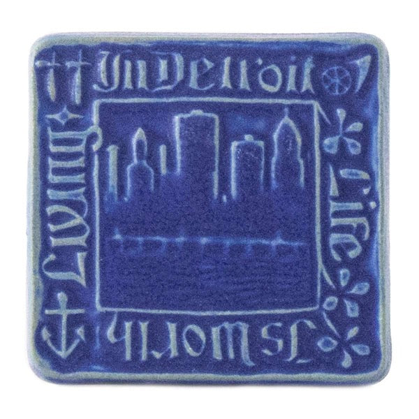 4x4 Old Detroit Pewabic Tile - Cobalt - Pure Detroit