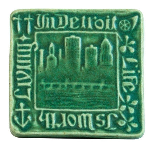 4x4 Old Detroit Pewabic Tile - Pewabic Green