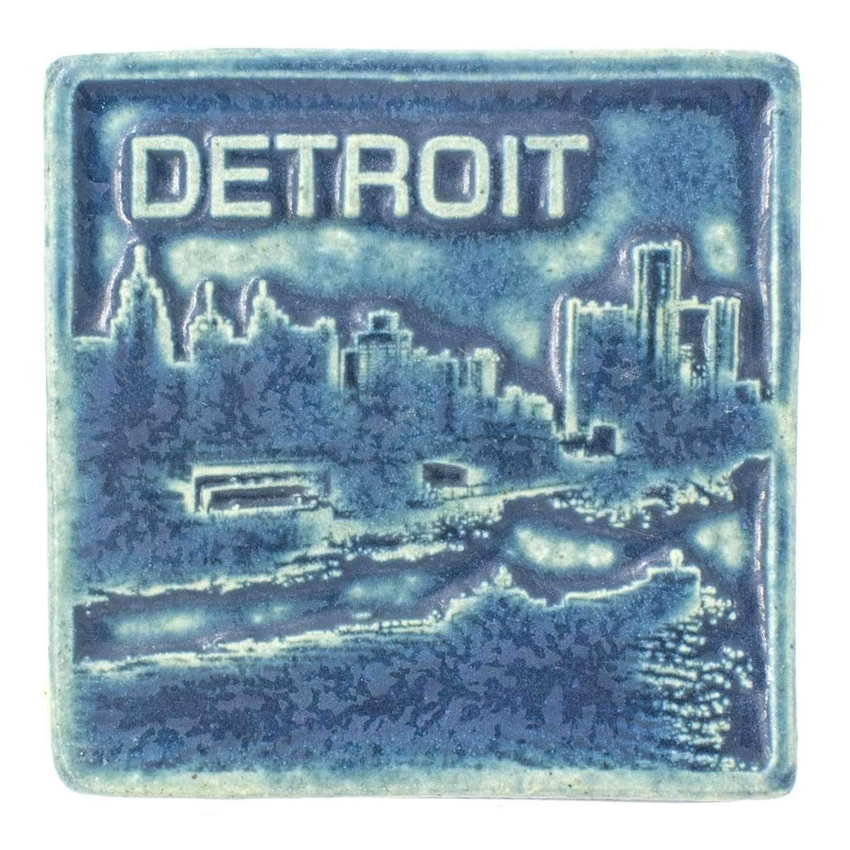 4x4 Detroit Skyline Pewabic Tile - Peacock