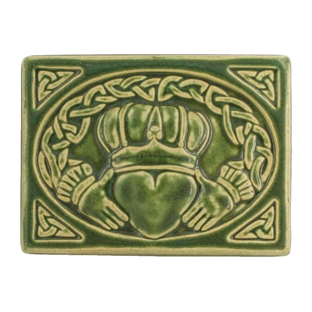 6x8 Claddagh Pewabic Tile - Leaf - Pure Detroit