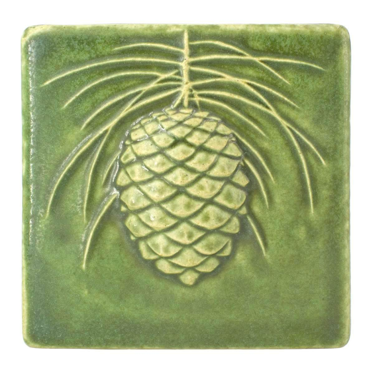 6x6 Pinecone Pewabic Tile - Leaf - Pure Detroit