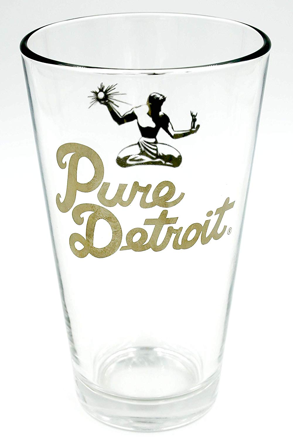 Pure Detroit 16oz Pint Glass / Gold - Pure Detroit