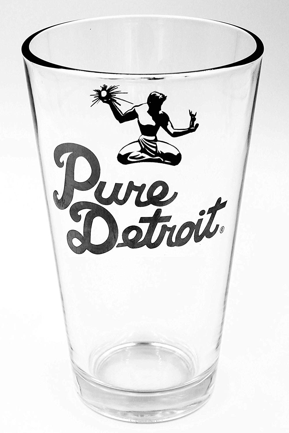 Pure Detroit 16oz Pint Glass / Black - Pure Detroit