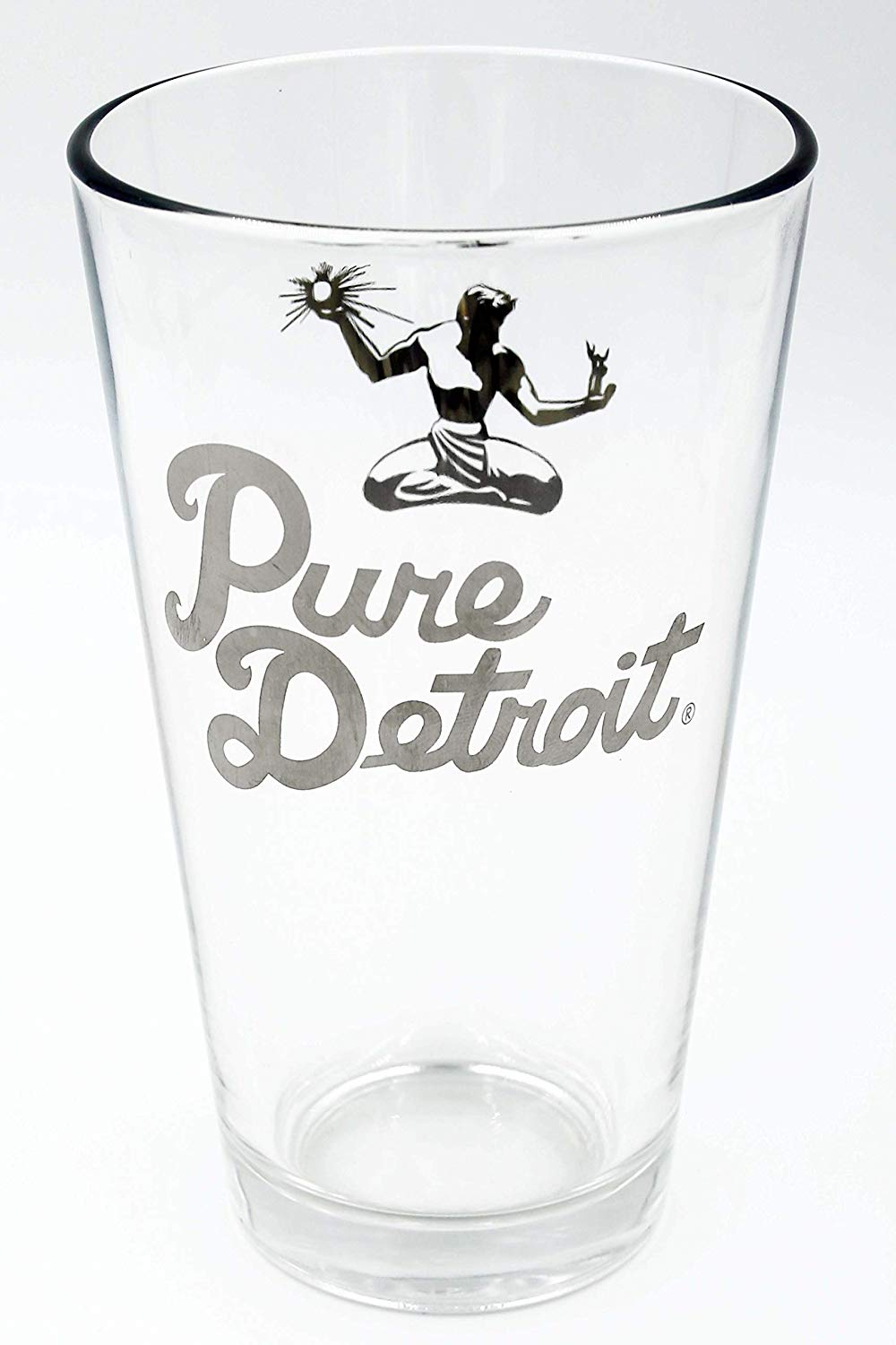Pure Detroit 16oz Pint Glass / Silver - Pure Detroit