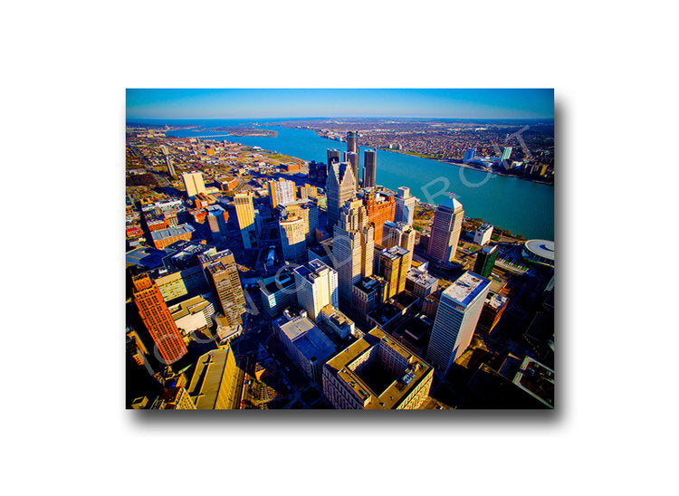 Detroit Aerial Skyline Luster or Canvas Print $35 - $430