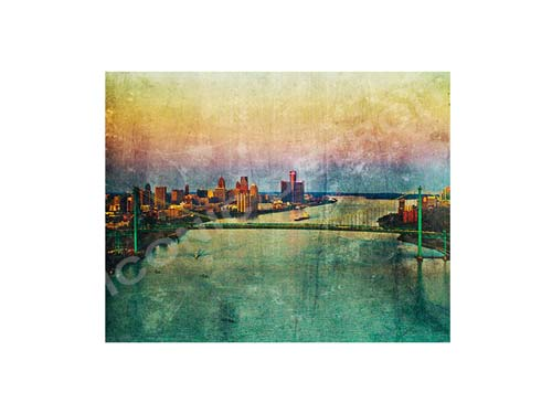 Ambassador Bridge Aerial Skyline Luster or Canvas Print $35 - $430