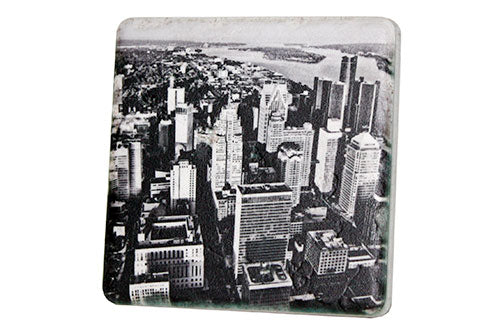 Detroit Aerial Skyline Black & White Porcelain Tile Coaster - Pure Detroit