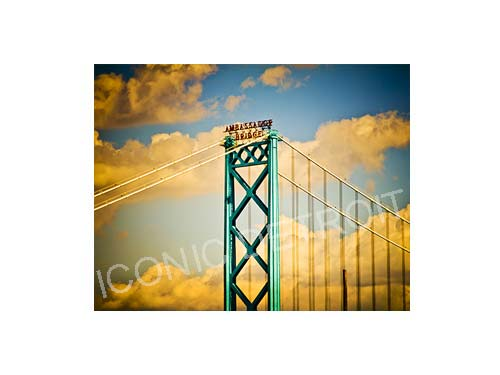 Ambassador Bridge Clouds Horizontal Luster or Canvas Print $35 - $430 - Pure Detroit