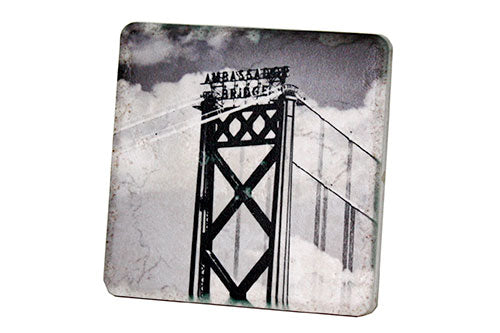 Ambassador Bridge Black & White Porcelain Tile Coaster - Pure Detroit