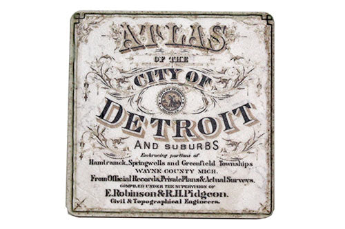 Vintage City of Detroit Atlas Tile Coaster