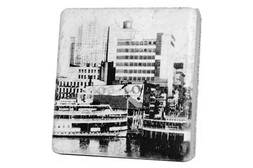Historic Bob-Lo Island Dock Black and White Detroit Porcelain Tile Coaster - Pure Detroit