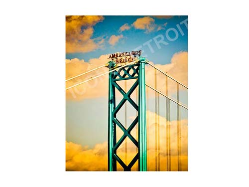 Ambassador Bridge Clouds Vertical Luster or Canvas Print $35 - $430 - Pure Detroit
