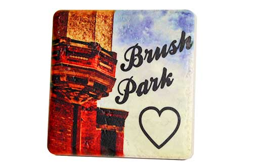 Brush Park Porcelain Tile Coaster