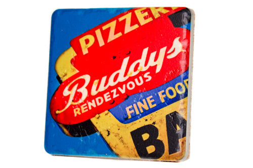 Buddy's Pizzeria Porcelain Tile Coaster