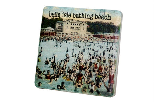 Vintage Belle Isle Bathing Beach Porcelain Tile Coaster - Pure Detroit