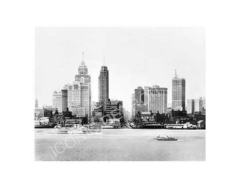 Historic Detroit River Skyline Black and White Luster or Canvas Print - Pure Detroit