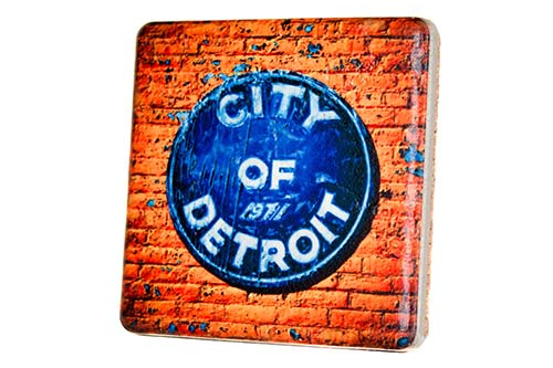 City of Detroit Emblem Porcelain Tile Coaster - Pure Detroit