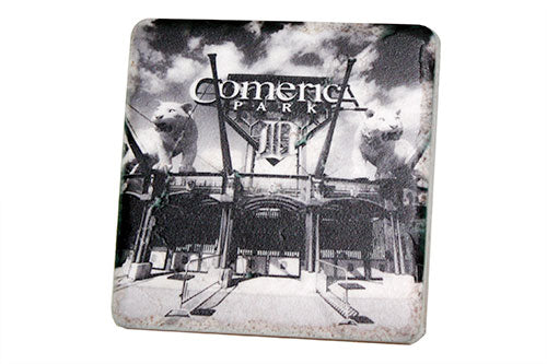 Comerica Park Entrance Black & White Porcelain Tile Coaster