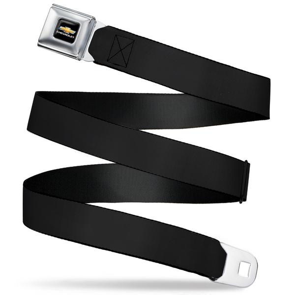 Chevrolet Seatbelt Belt / Gold Color Logo + Black Webbing