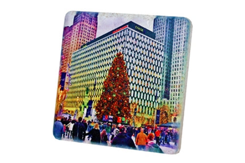 Campus Martius Christmas Tree Porcelain Tile Coaster - Pure Detroit