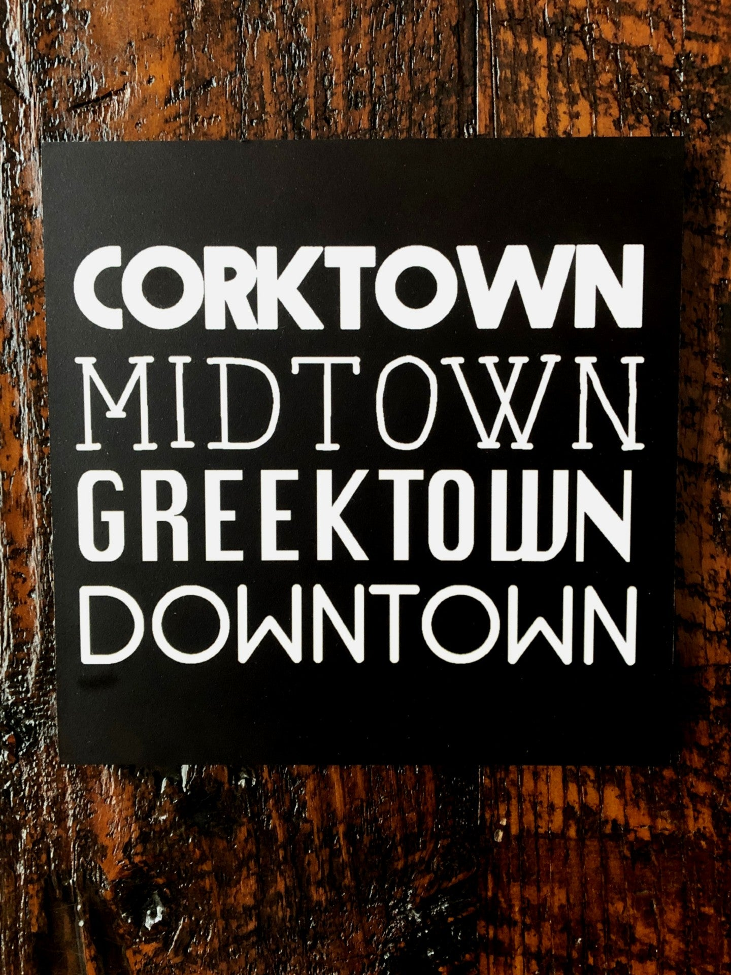 Corktown Midtown Greektown Downtown Black Woodblock Print - Pure Detroit