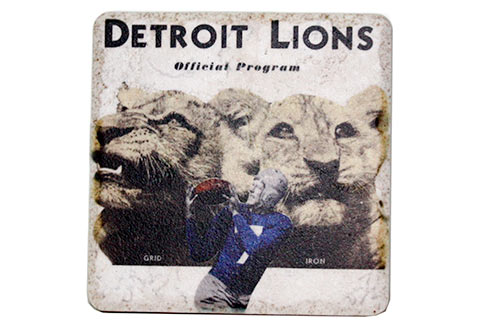 Vintage Detroit Lions Official Program Porcelain Tile Coaster - Pure Detroit