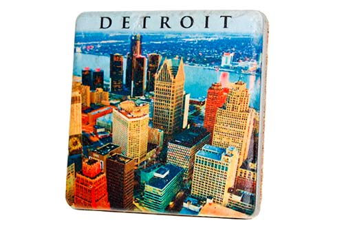 Detroit Skyline Porcelain Tile Coaster - Pure Detroit