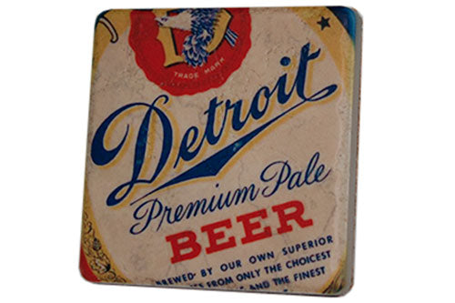 Detroit Beer Vintage Label Porcelain Tile Coaster - Pure Detroit