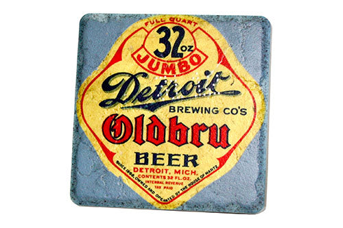 Vintage Detroit Brewing Company Oldbru Beer Porcelain Tile Coaster - Pure Detroit