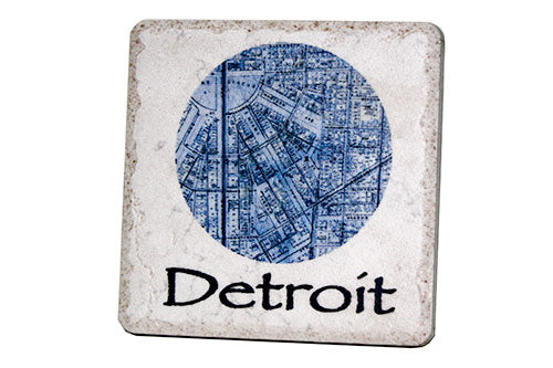 Detroit Globe Map Porcelain Tile Coaster - Pure Detroit