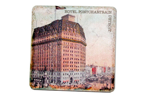Vintage Pontchartrain Hotel Porcelain Tile Coaster - Pure Detroit