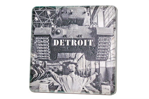 Historic Detroit Built Tank Porcelain Tile Coaster - Pure Detroit