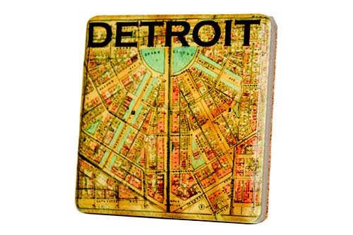 Vintage Detroit Street Map Porcelain Coaster - Pure Detroit
