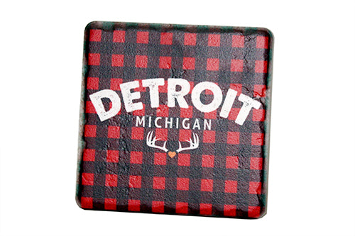 Detroit Michigan Plaid Porcelain Tile Coaster