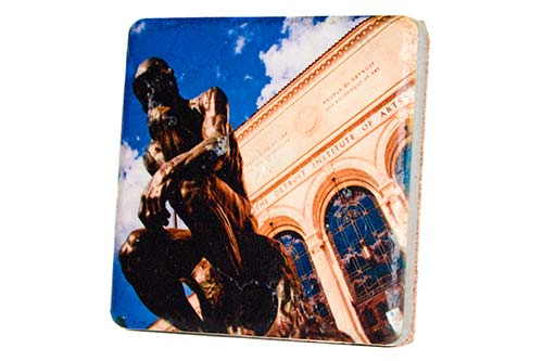 Detroit Institute of Arts Thinker Porcelain Tile Coaster - Pure Detroit