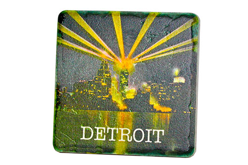 Vintage Detroit at Night Porcelain Tile Coaster - Pure Detroit