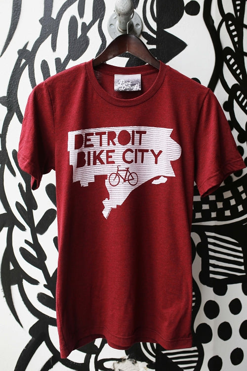 Detroit Bike City Tee / White + Cardinal / Unisex - Pure Detroit