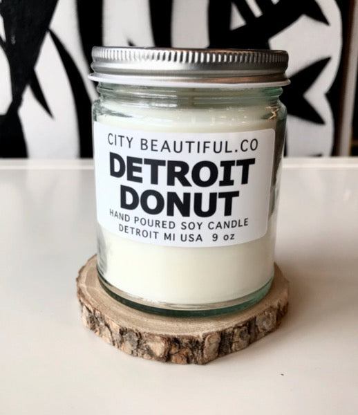 Detroit Donut - Hand Poured Soy Candle by City Beautiful . Co - 9oz. - Pure Detroit