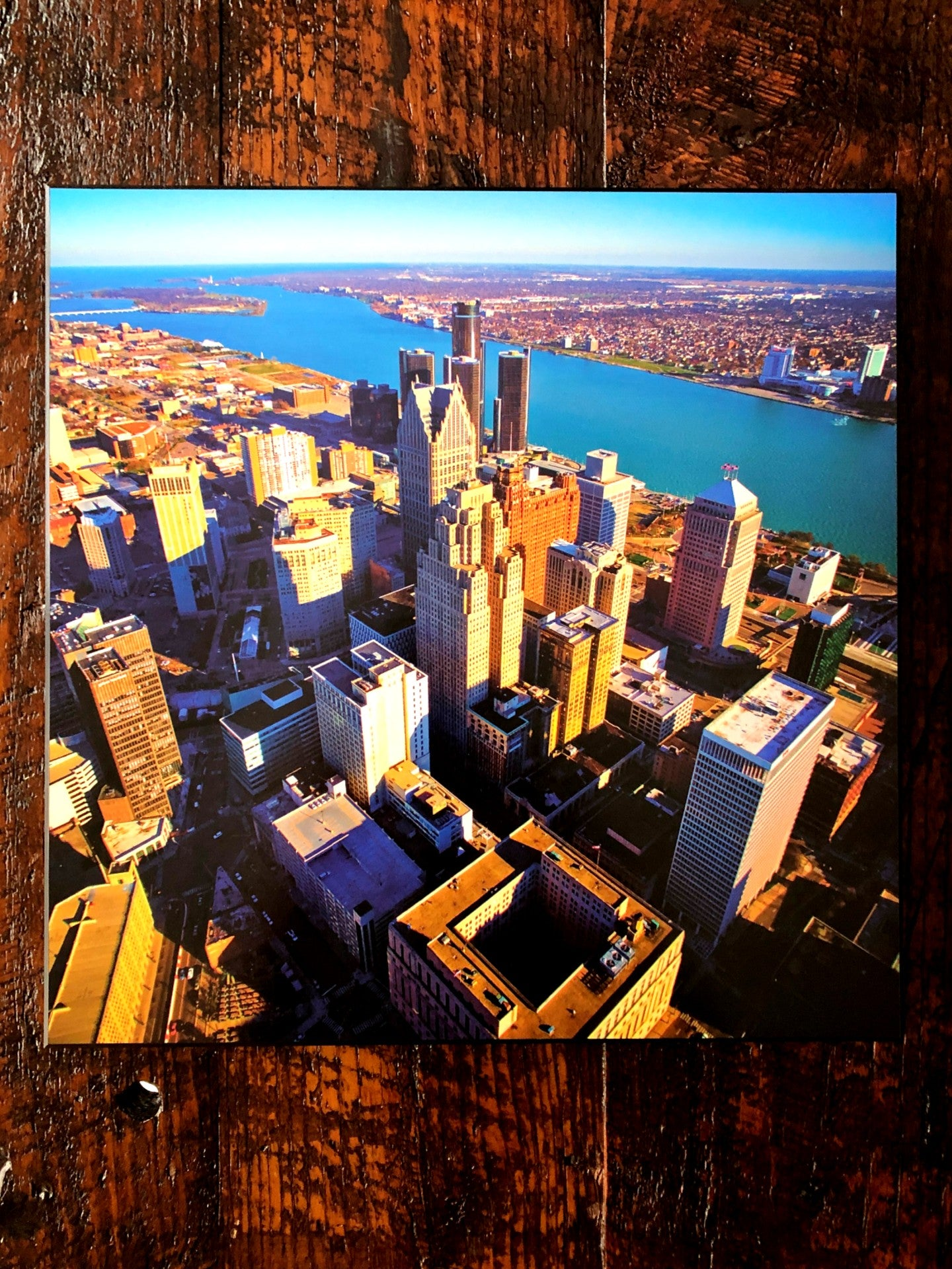 Detroit Aerial Skyline Woodblock Print - Pure Detroit