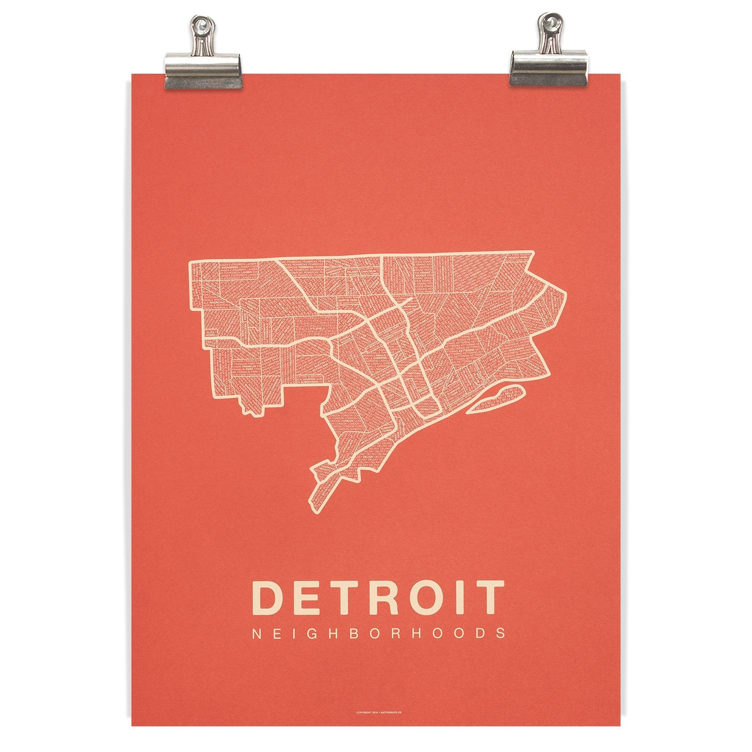 Detroit Neighborhood Map - Coral - Pure Detroit