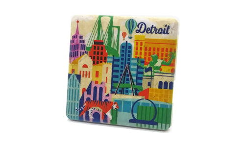 Detroit Illustration Porcelain Tile Coaster - Pure Detroit