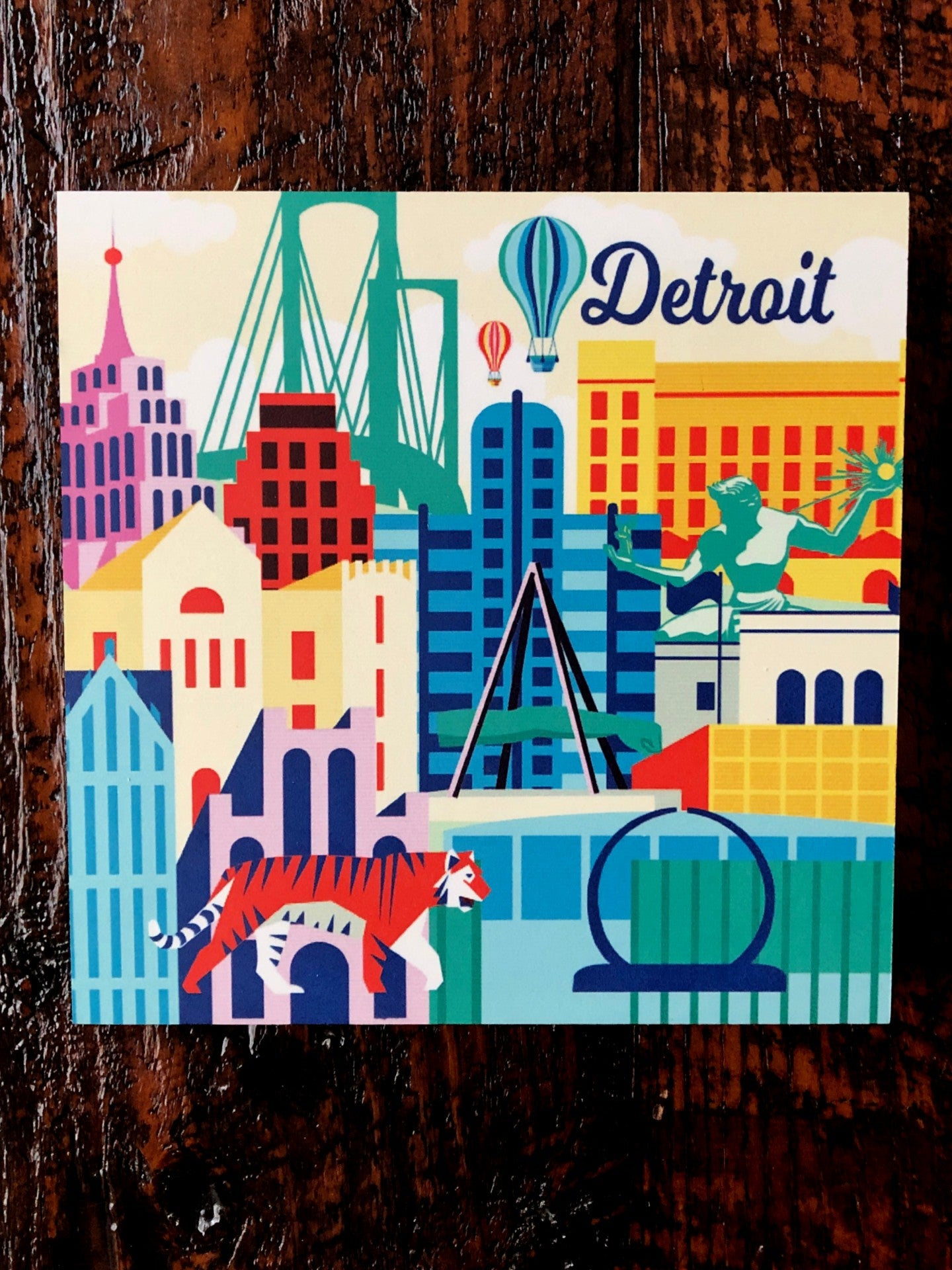 Detroit Illustration Woodblock Print - Pure Detroit