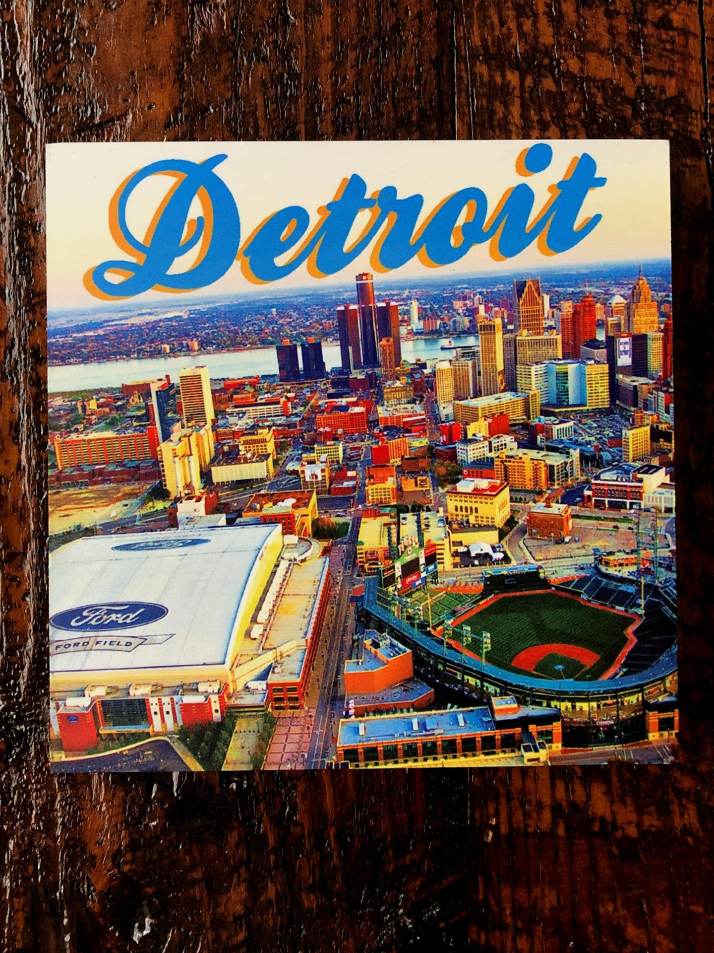 Detroit Stadium Skyline Woodblock Print - Pure Detroit