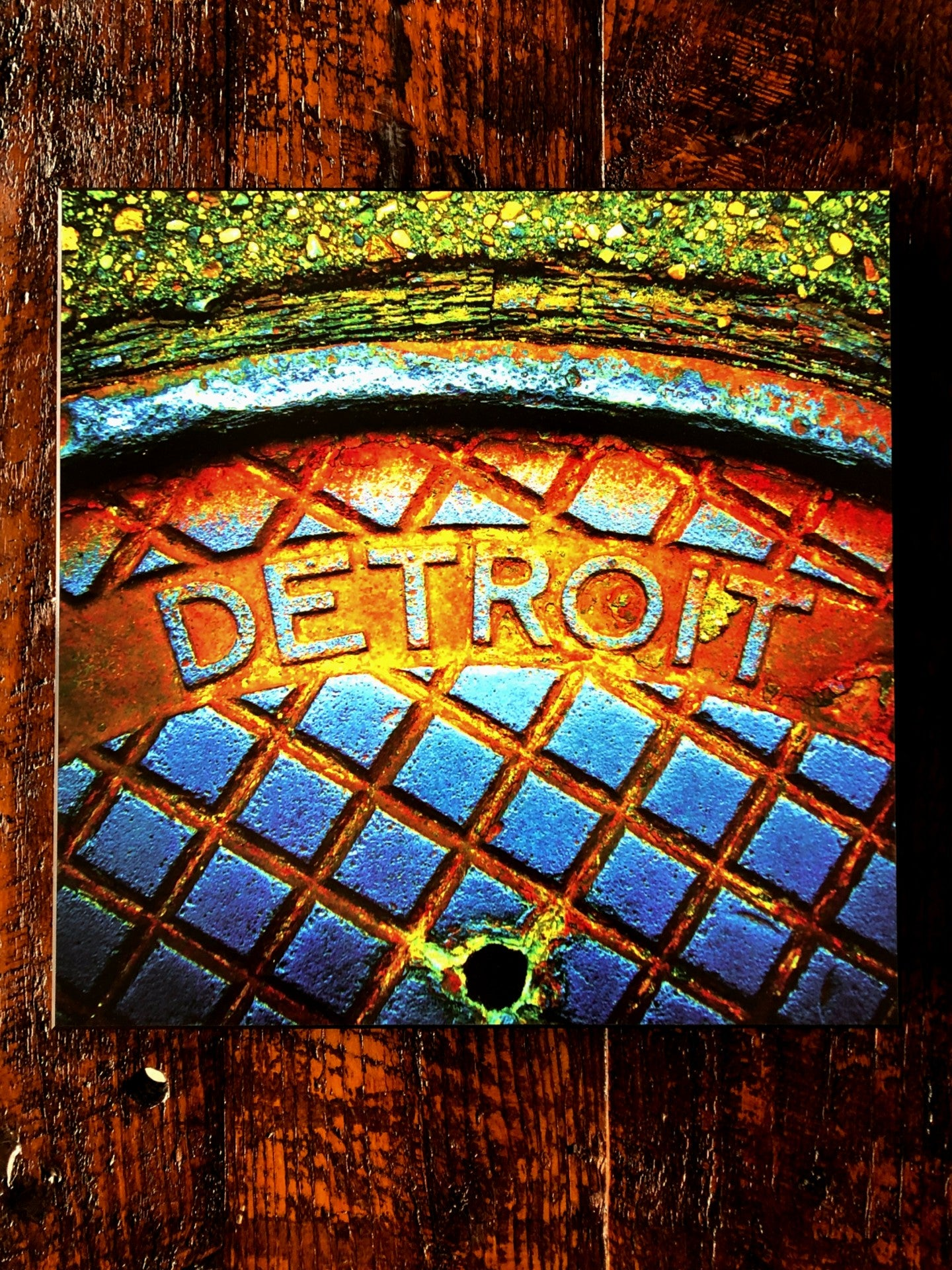 Detroit Manhole Steam Woodblock Print - Pure Detroit