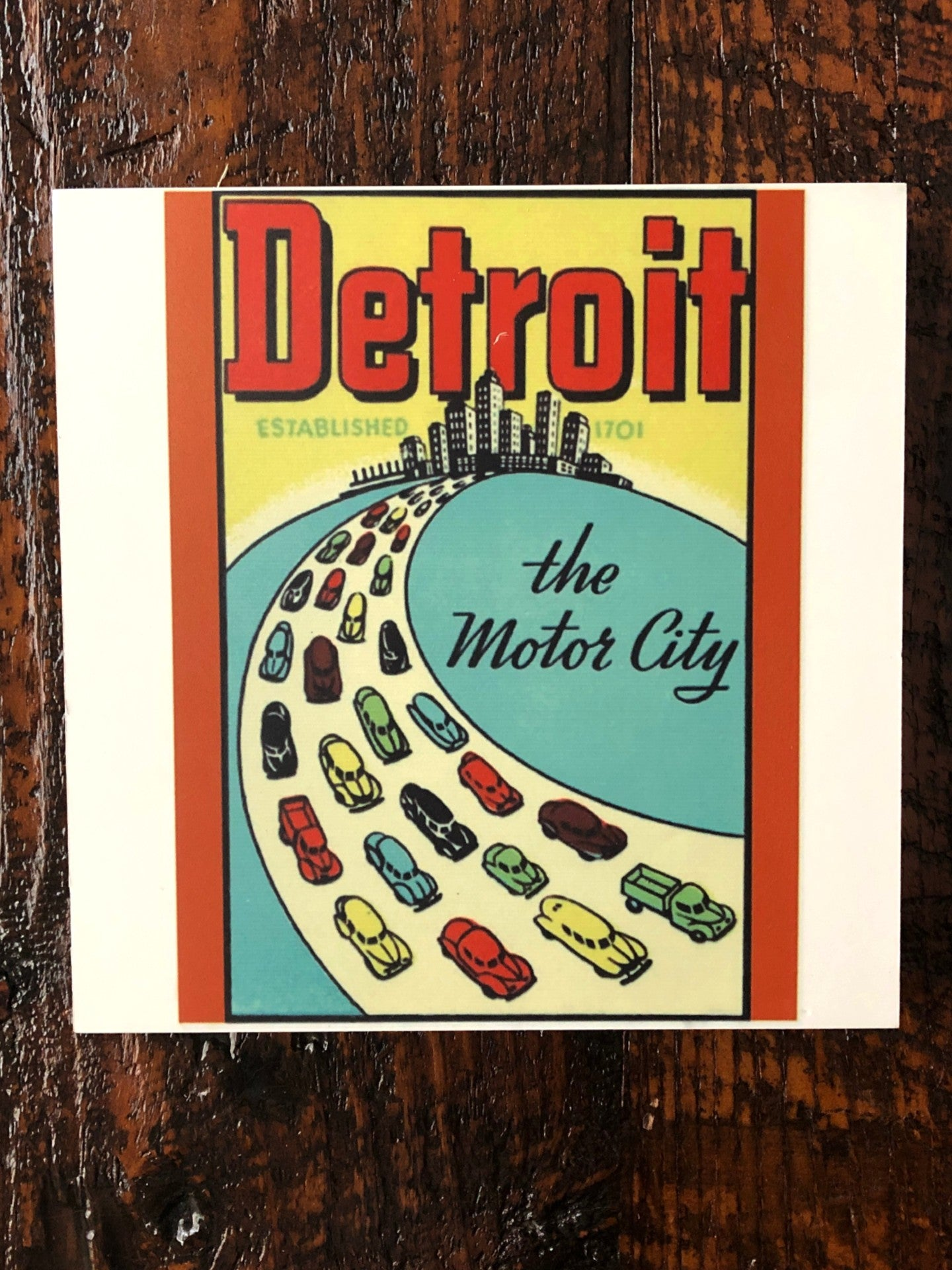 Vintage Detroit The Motor City Woodblock Print - Pure Detroit