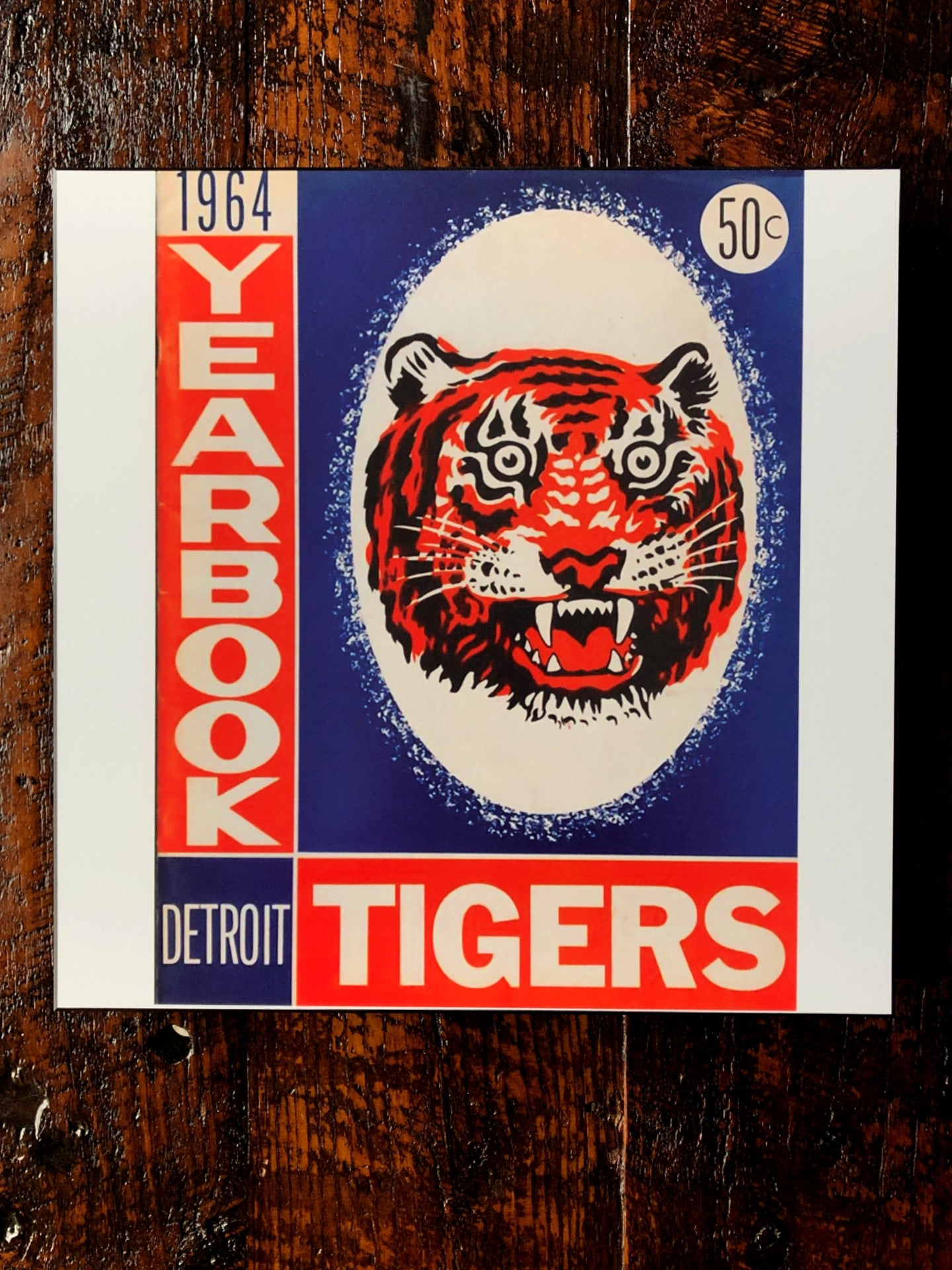 1964 Detroit Tigers Yearbook Woodblock Print - Pure Detroit